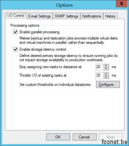 Backup I/O Control Settings